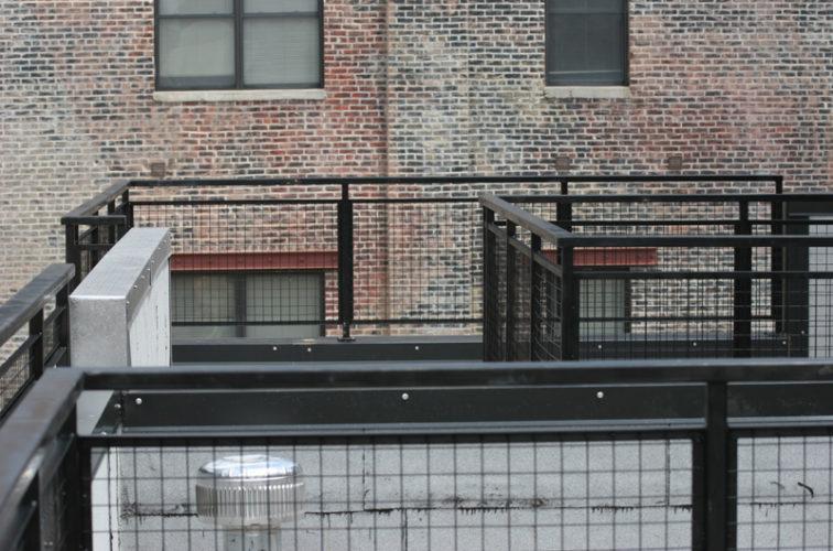 AmeriFence Corporation Wichita - Custom Railing, 2204 Railing with mesh infill