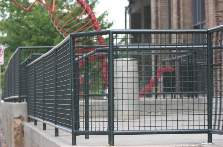 AmeriFence Corporation Wichita - Custom Railing, 2207 Railing with heavy mesh infill