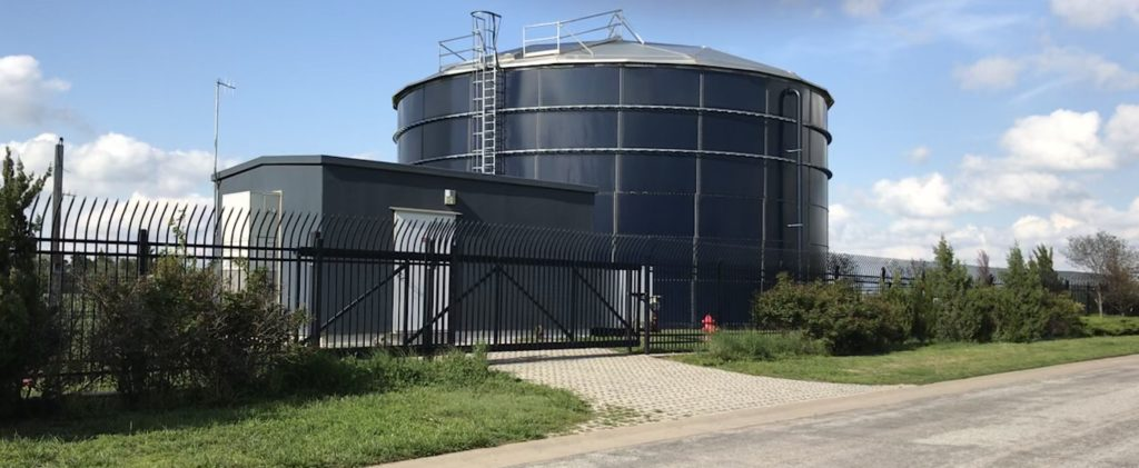 Goddard water storage tank with high security ornamental fencing and cantilever gate